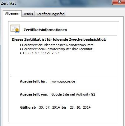 SSL Zertifikat Google