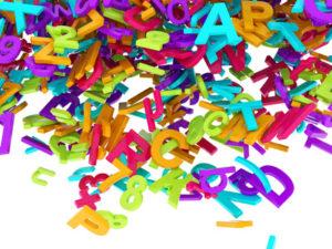 Fallende 3D Buchstaben bunt