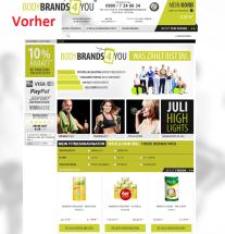 Startseite vor Optimierung Bodybrands4you.de