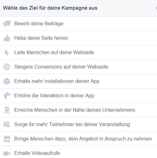 Facebook-Werbung-Agentur-Werbeziele