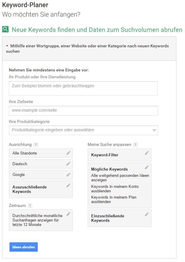 Keyword-Planer für die website Suchmaschinenoptimierung