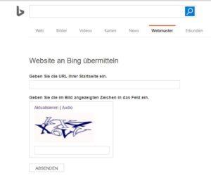 Suchmaschineneintrag Bing