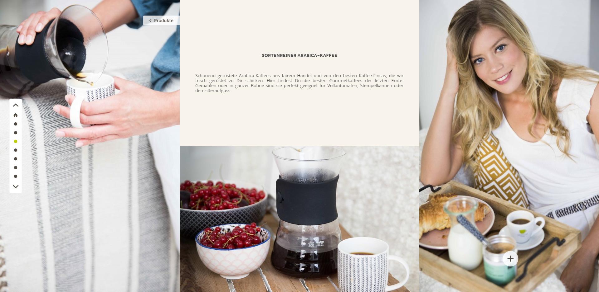 Storytelling Einkaufswelten Shopware auf www.green-cup-coffee.de