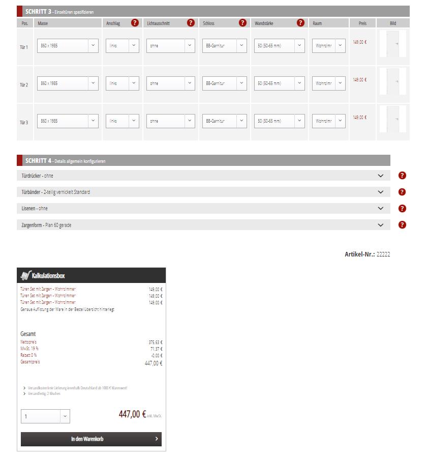 Shopware-Kalkulator Türenmarkt24