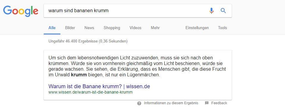 """Featured Snippet im Text-Format bei der Suchanfrage """"Warum sind Bananen krumm"""""""