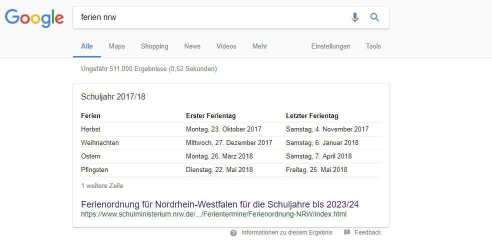 """Featured Snippet im Tabellen-Format bei der Suchanfrage """"Ferien NRW"""""""