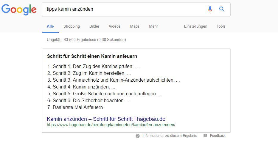 """Featured Snippet im Listen-Format bei der Suchanfrage """"Tipps Kamin anzünden"""""""