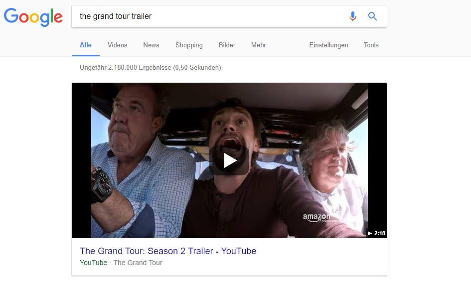 """Featured Snippet im Video-Format bei der Suchanfrage """"the Grand Tour Trailer"""""""