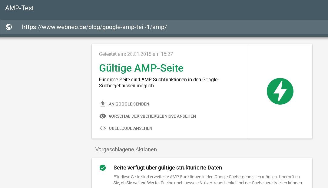 Gueltige AMP-SEITE mit Google AMP-Test Tool