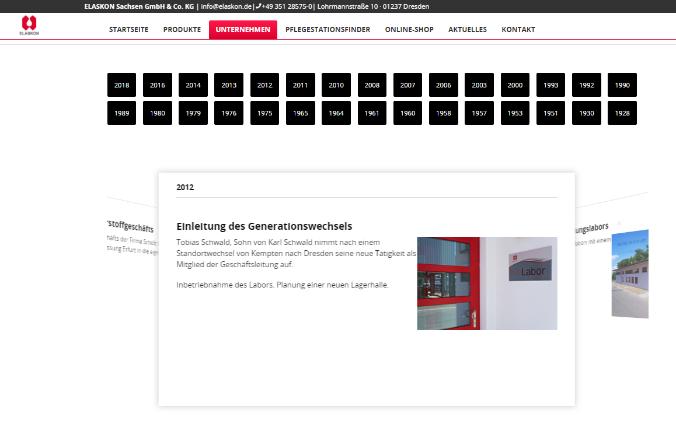 Neue Darstellung der Historie unter www.elaskon.de/unternehmen/historie