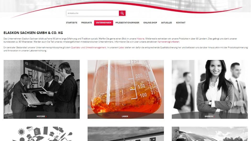 Screen neue Unternehmensseite unter www.elaskon.de/unternehmen