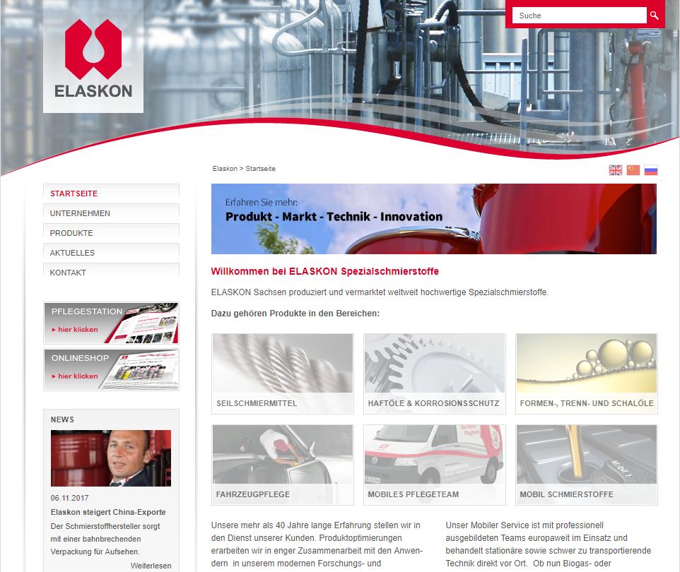 Screen der alten Website unter elaskon.de