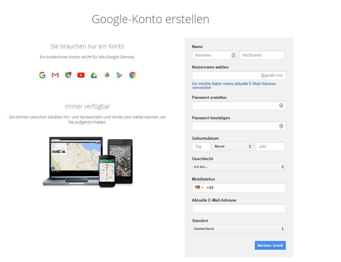 Google Konto erstellen für Google Data Studio
