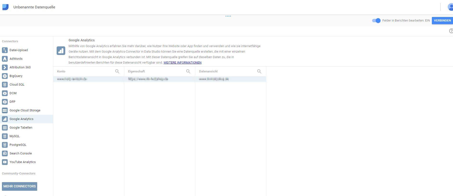 Datenquelle hinzufuegen im Google Data Studio
