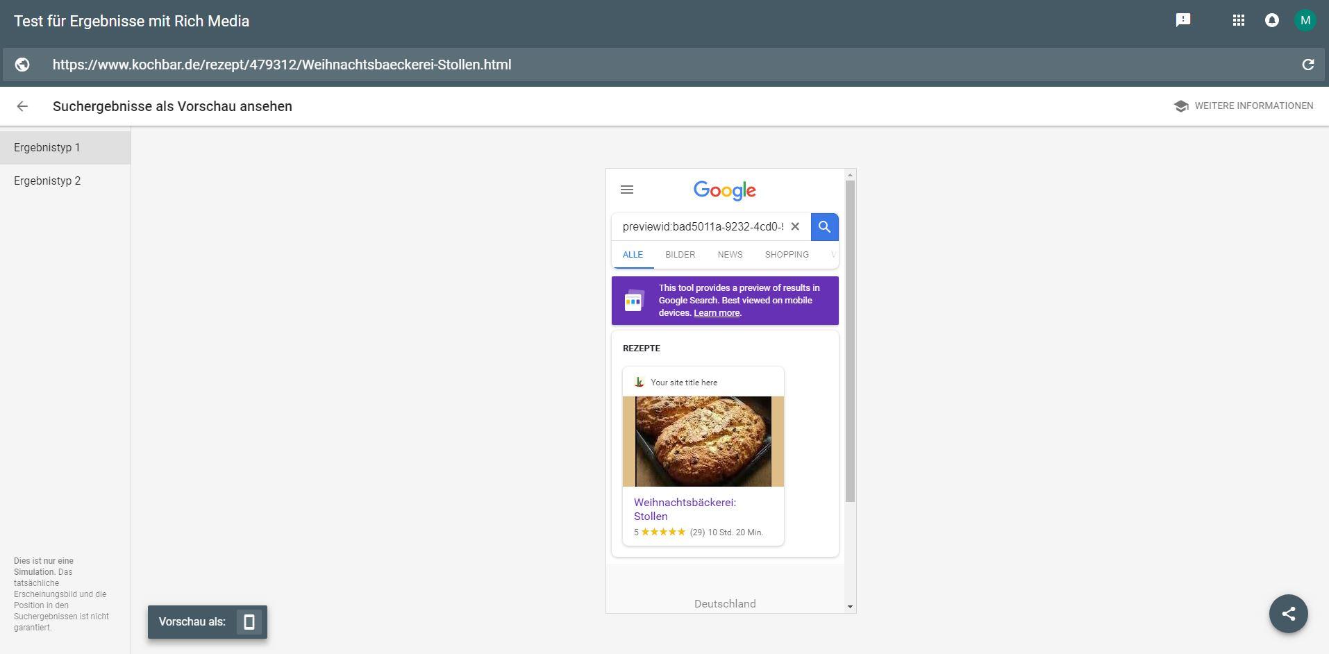 Test für Ergebnisse mit Rich Media - Preview Funktion in Google Search Console