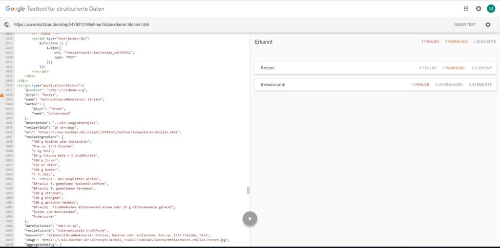Googles Testtool für strukturierte Daten