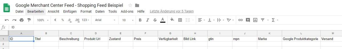 Google Tabellen Shopping Feed