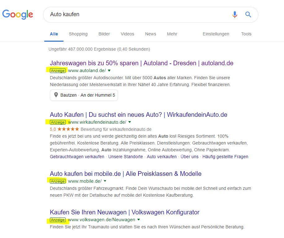 Google Rankings - Beispiel Anzeigen