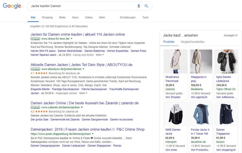 Google Shopping - Beispiel Anzeigen