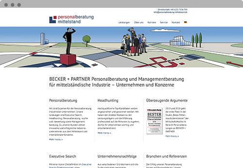 becker+partner - Startseiten Mockup www.personalberatung-mittelstand.de
